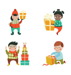 Cartoon kids with present gift set vector