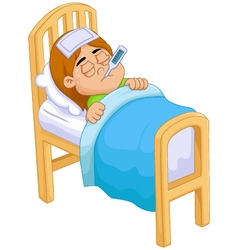 Cartoon Sick girl in bed vector