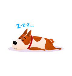cartoon sleeping dog portrait cute resting puppy vector image