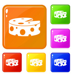 Cheese wheel icons set color vector