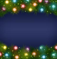 Christmas lights on pine on blue vector image