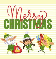 Christmas postcard elf with present box vector