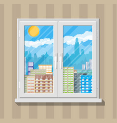City skyline at day behind window vector