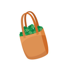 cloth shopping bag with green broccoli for reuse vector image