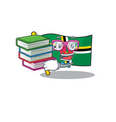 Cool and clever student flag dominica mascot book vector
