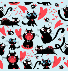Cool pattern funny loving cats vector