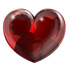 couple silhouettes heart vector image