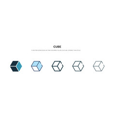 Cube icon in different style two colored and vector