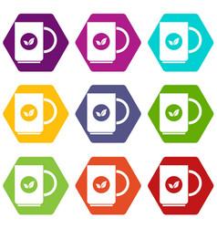 cup of tea icon set color hexahedron vector image