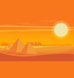 Desert view egypt pyramids sunset flat vector