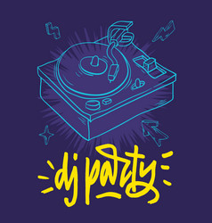 dj party poster design with a turntable and hand vector image