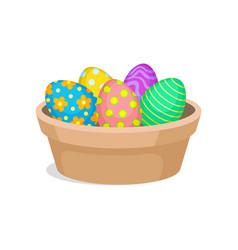 easter eggs with ornaments in brown ceramic pot vector image
