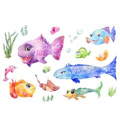 fish set watercolor vector image