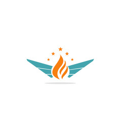 flame wing star company logo vector image