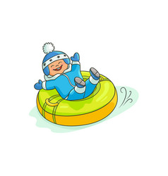 Flat boy kid in inflatable tube sled vector