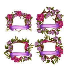 floral frame templates for wedding invitation set vector image