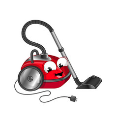 Funny vacuum cleaner cartoon character vector
