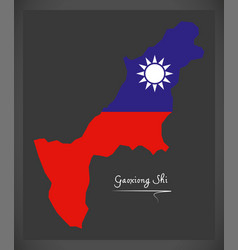 Gaoxiong shi taiwan map with taiwanese national vector