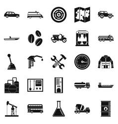 gas station icons set simple style vector image