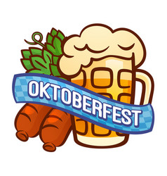 German oktoberfest logo cartoon style vector