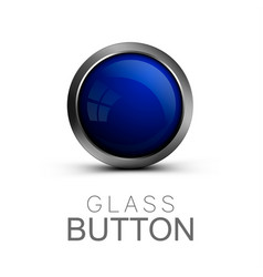 glass button on white background vector image
