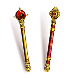 Golden scepter for king or queen royal wand vector