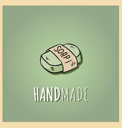 Handmade natural soap logo hand drawn organic vector