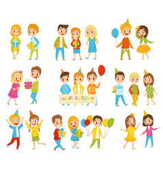 happy birthday kids set little boys and girls vector image