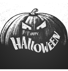 Happy Halloween chalk lettering with pumpkin vector image