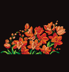 Hot orange orchid flowers on black design element vector