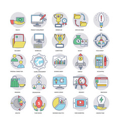 icons set of business in flat design vector image