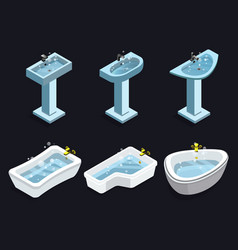 Isometric isolated bathroom interior icons vector