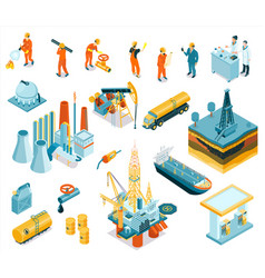 Isometric oil industry workers icon set vector