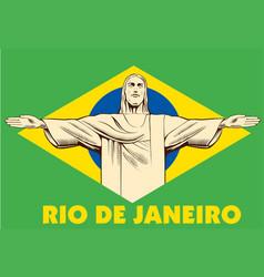 Jesus christ statue rio de janeiro brazil flag vector