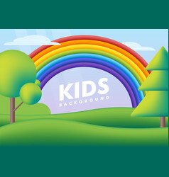 Kids background flat cute landscape with rainbow vector