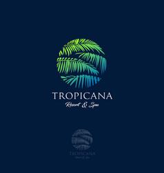Logo tropical spa leaves vector
