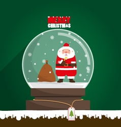 Merry Christmas Santa Claus in snow globe vector