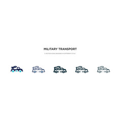 military transport icon in different style two vector image
