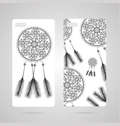 Mobile phone cover back and screen pattern vector