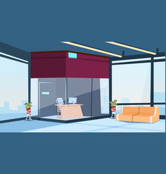 Modern lobby office reception hall building vector