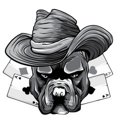 Monochromatic playing cards and bulldog head vector