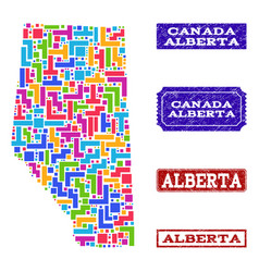 Mosaic map of alberta province and textured seals vector