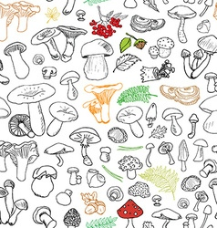 mushroom hand drawn sketch seamless pattern vector image