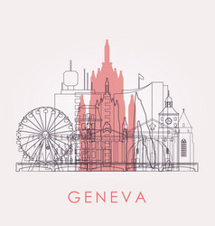 outline geneva skyline with landmarks vector image