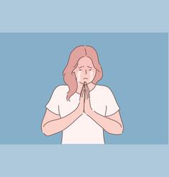 Religion praying begging concept vector