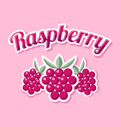 retro raspberry with title on pink background vector image