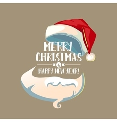 Retro Santa hat and beard with greetings vector
