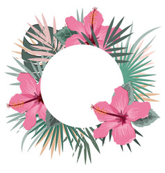 round frame with tropical palm leaves and hibiscus vector image