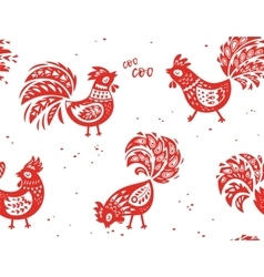 seamless pattern rooster background vector image