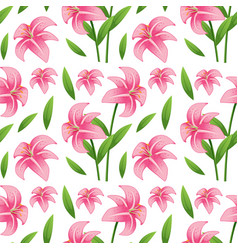Seamless pattern tile cartoon with lilly flower vector